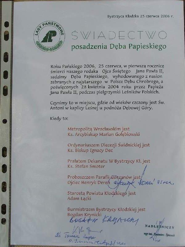 Świadectwo posadzenia Dębu Papieskiego,  Autor: R. Duma, 25.06.2006r.