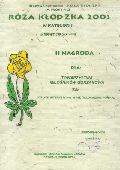 2003.08.14. Dyplom_Róża Kłodzka_2003
