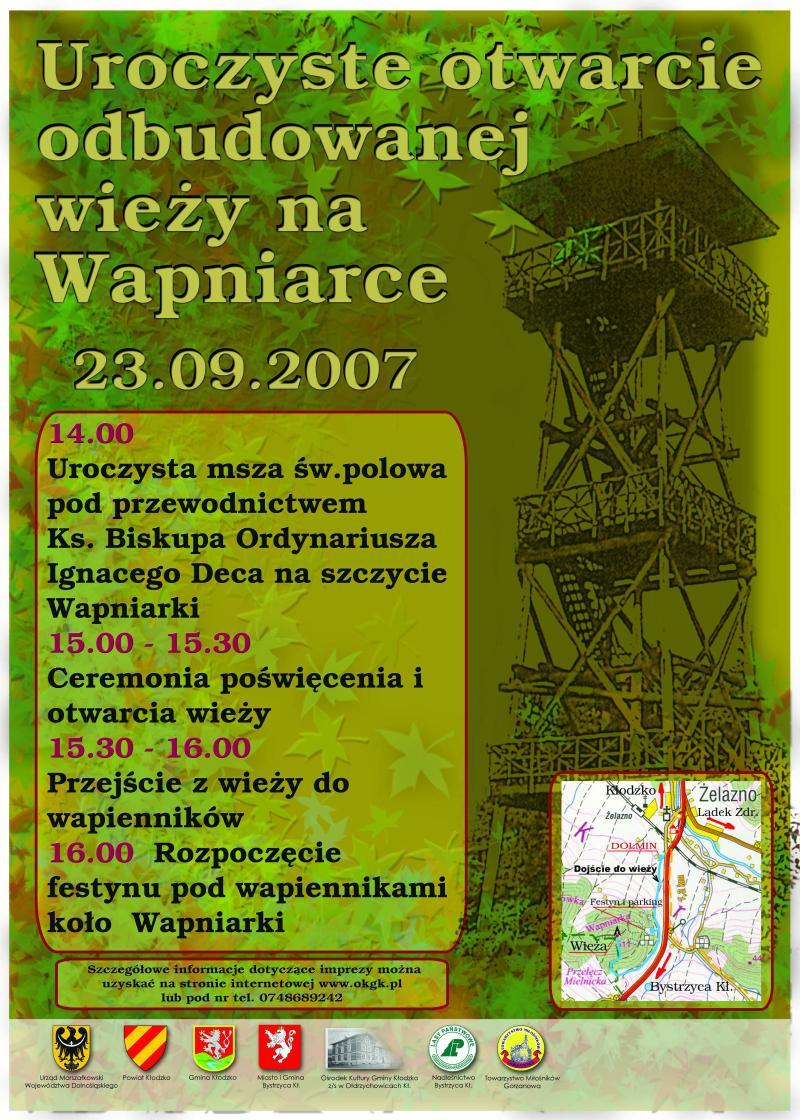 2007.09.23. Plakat_Otwarcie odbudowanej wieży naWapniarce
