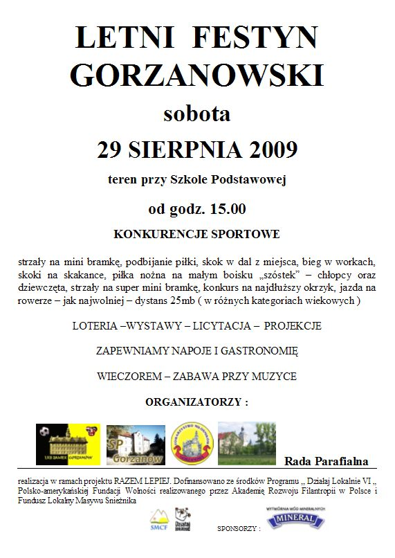 2009.08.29. Plakat_I_Festyn Gorzanowski
