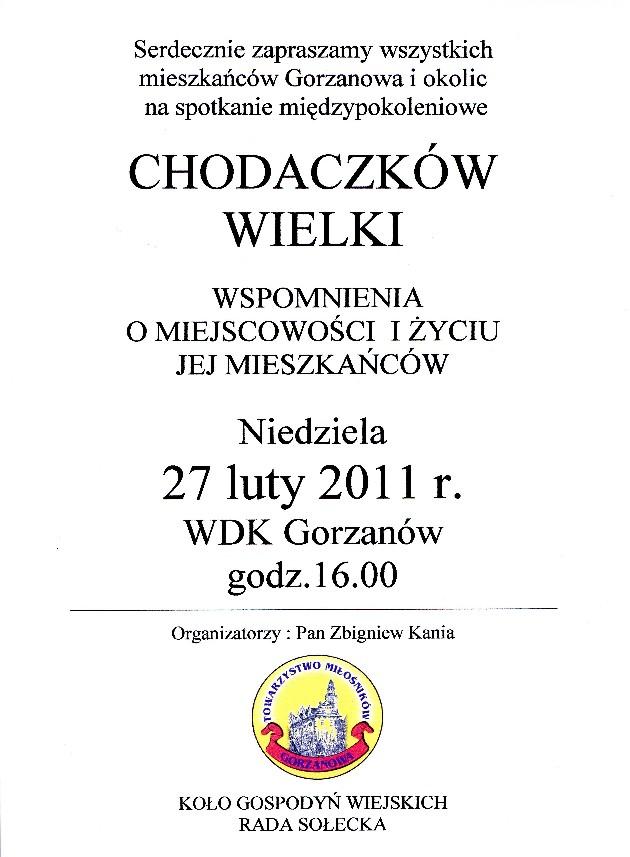 2011.02.27. Plakat Chodaczków Wielki - Wspomnienia mieszkańców