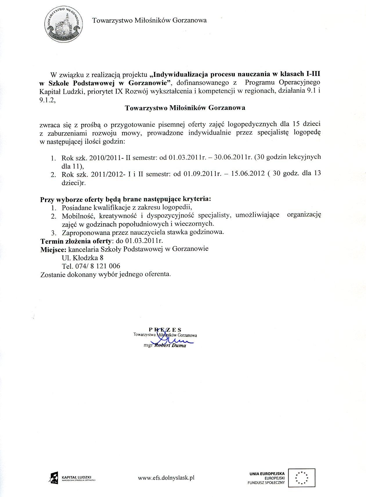 2011.03.01. zapaytanie_ofertowe_zajecia logopedyczne