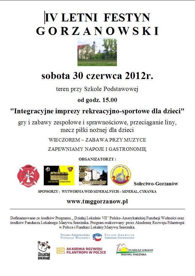 2012.06.30. Plakat_IV_Festyn Gorzanowski