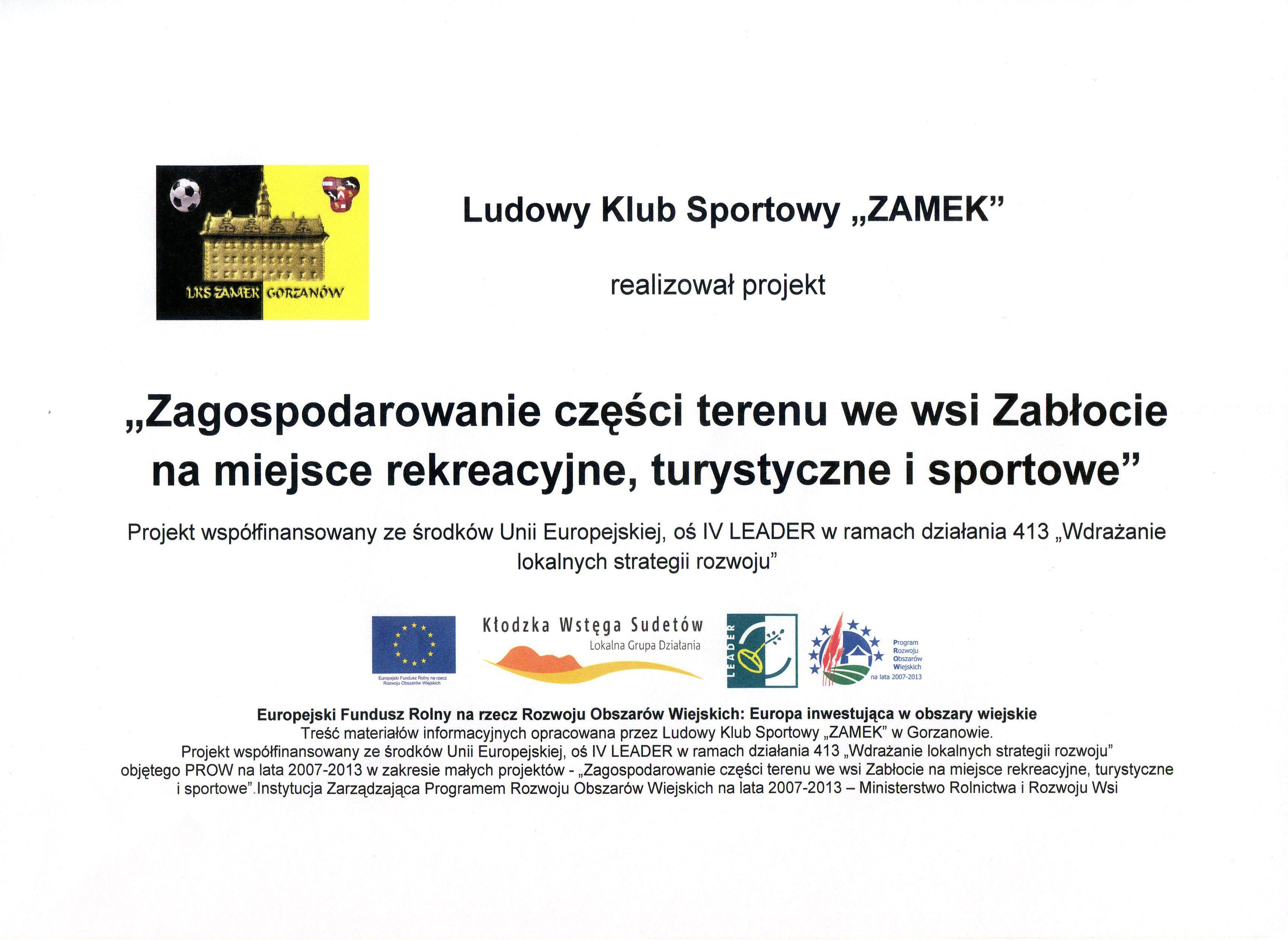 Tablica LKS_Zagospodarowanie częsci terenu_w Zablociu