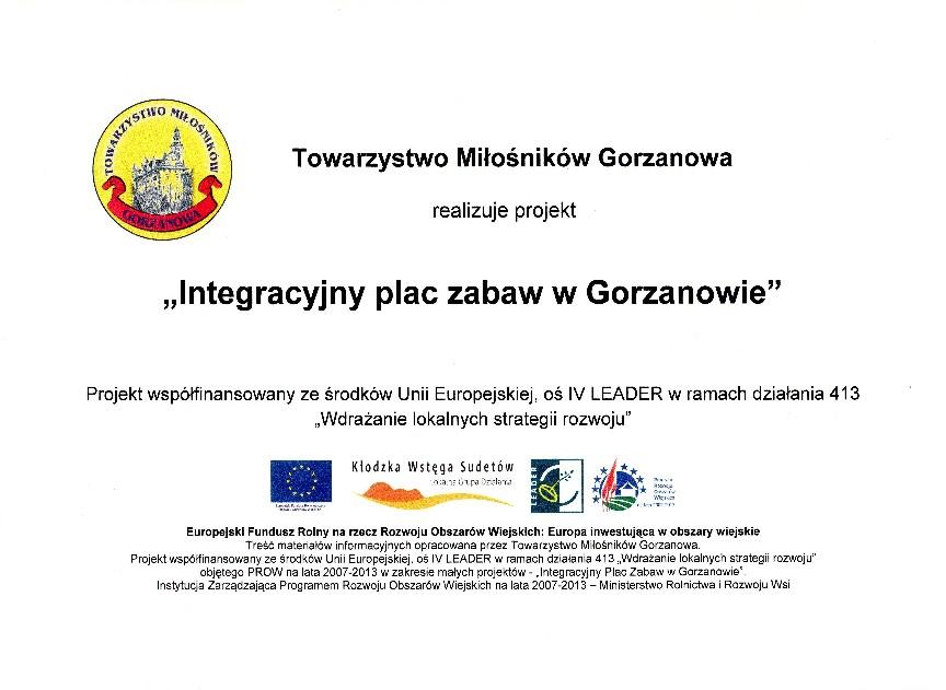 Tablica_Integracyjny plac zabaw wGorzanowie