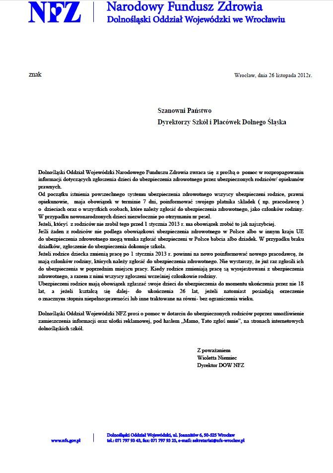 2012.12.07. Informacja NFZ