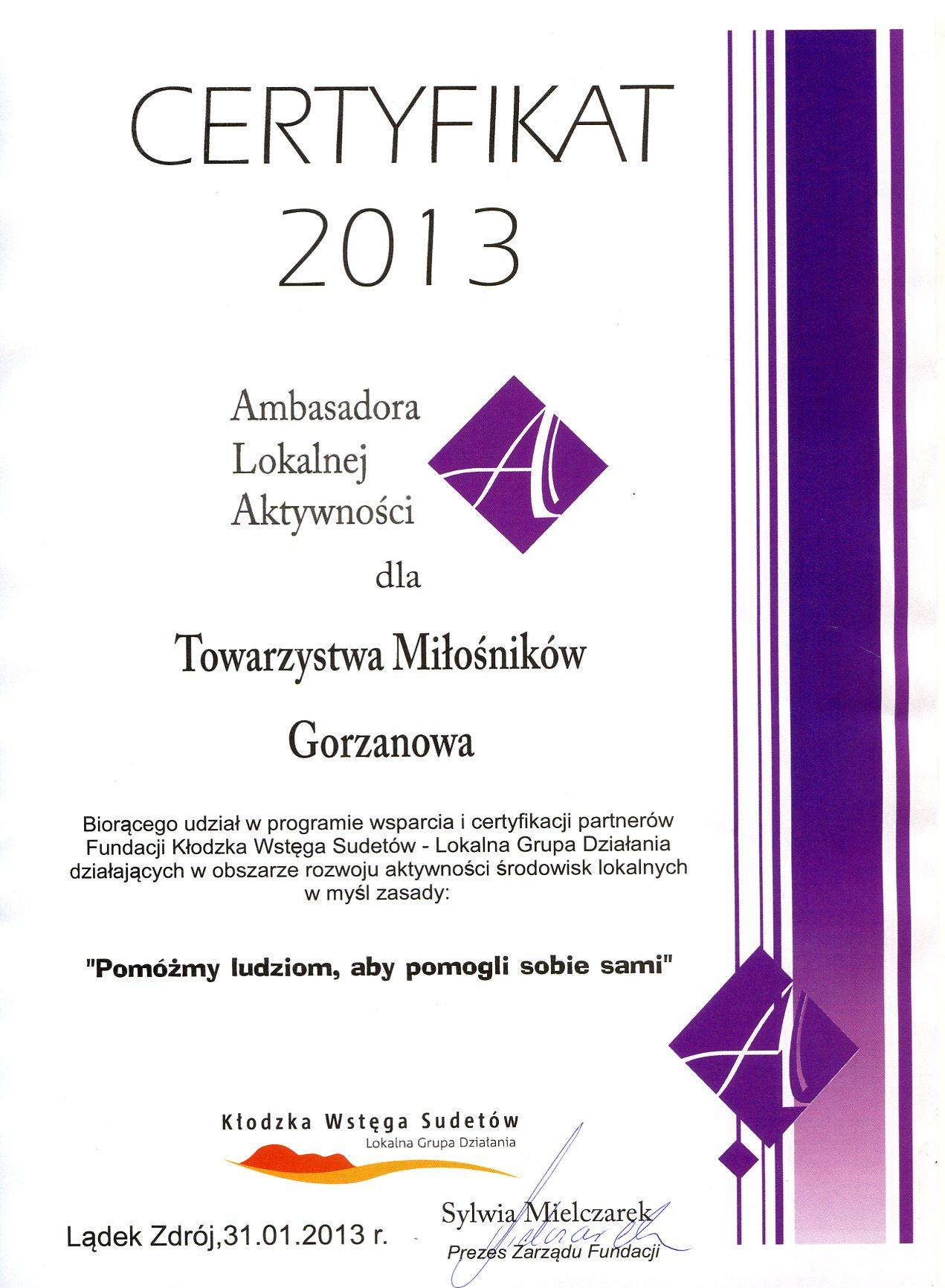 2013.01.31. Certyfikat_Ambasador Lokalnej Aktywności