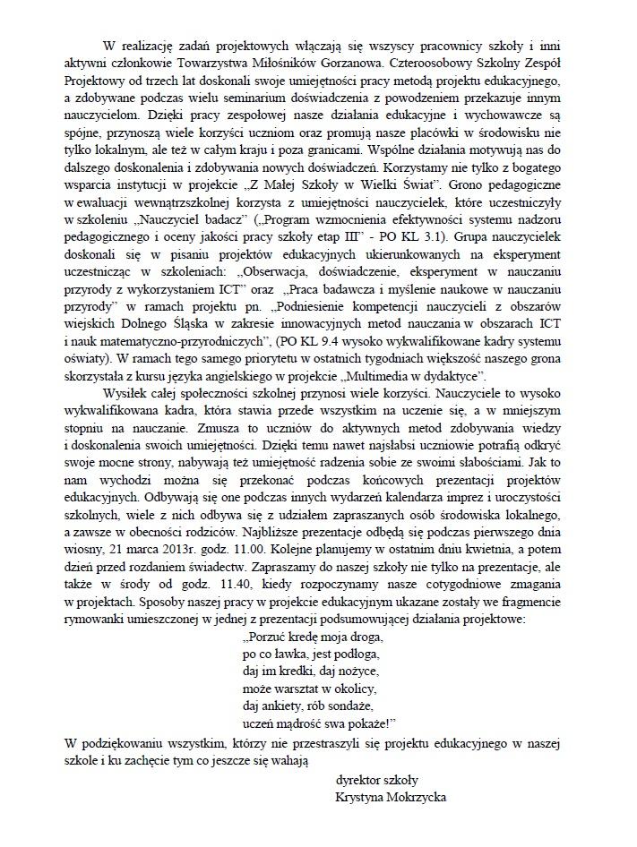 2013.03.16. Projekt edukacyjny ieksperyment wSP iBP_2