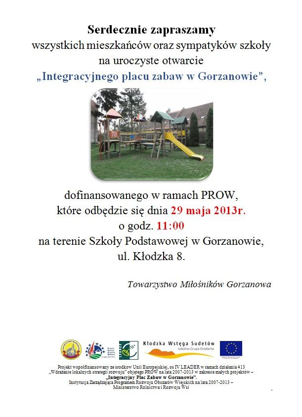 2013.05.29. Plakat_Otwarcie ,,Integracyjnego placu zabaw wGorzanowie''