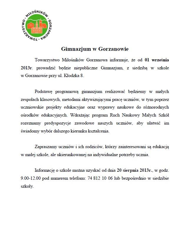 2013.08.12. Powstanie Gimnazjum