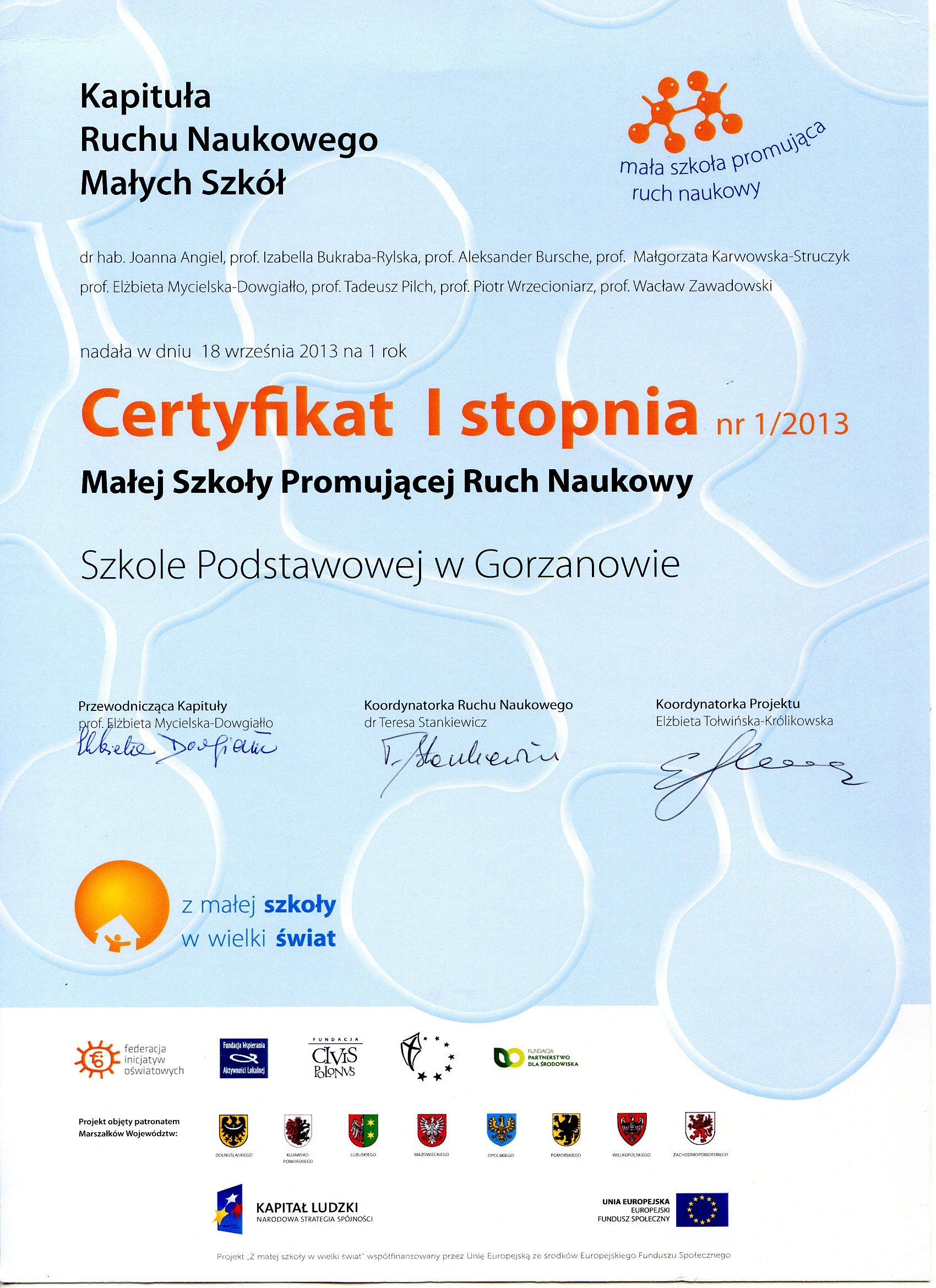 2013.10.09. Certyfikat promujący ruch naukowy