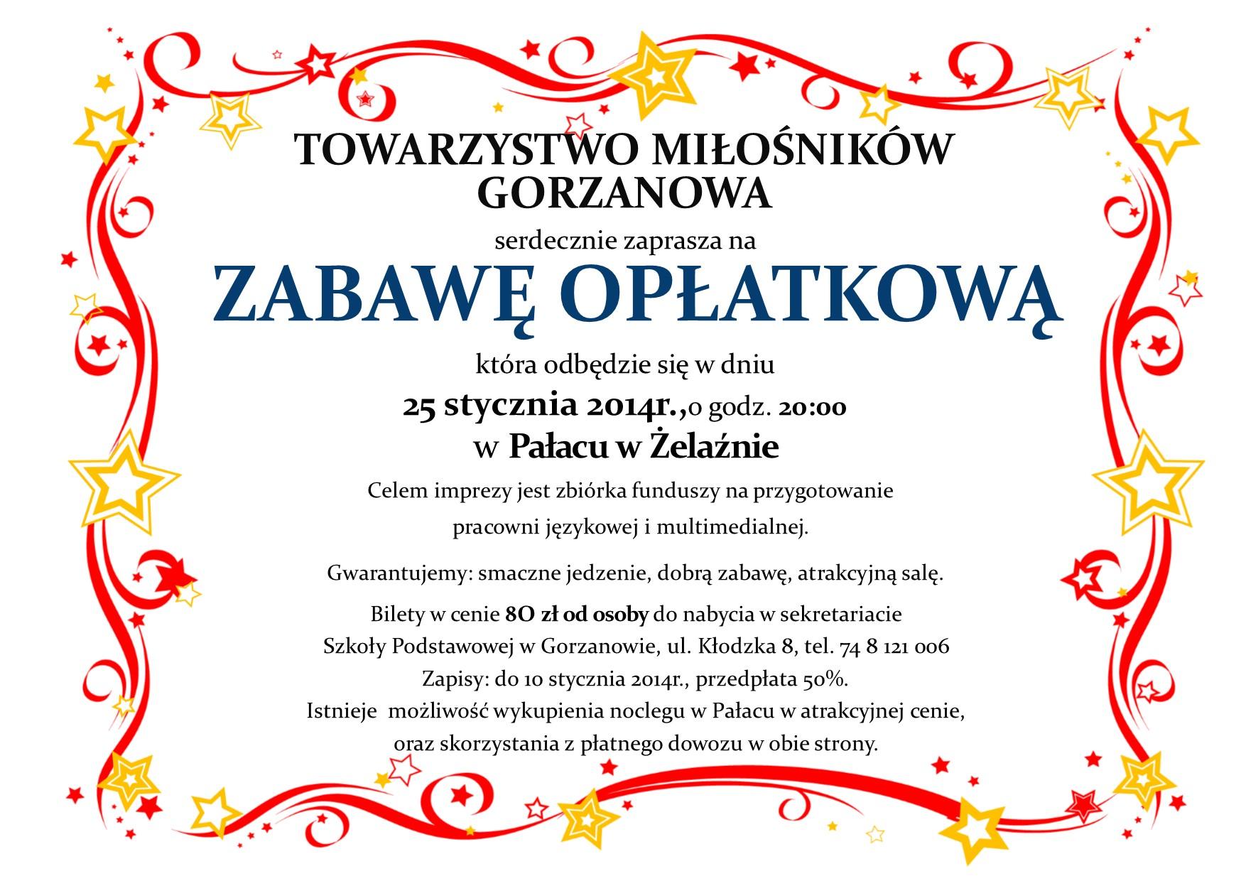 Plakat_Zabawa_Oplatkowa_2014.01.25.
