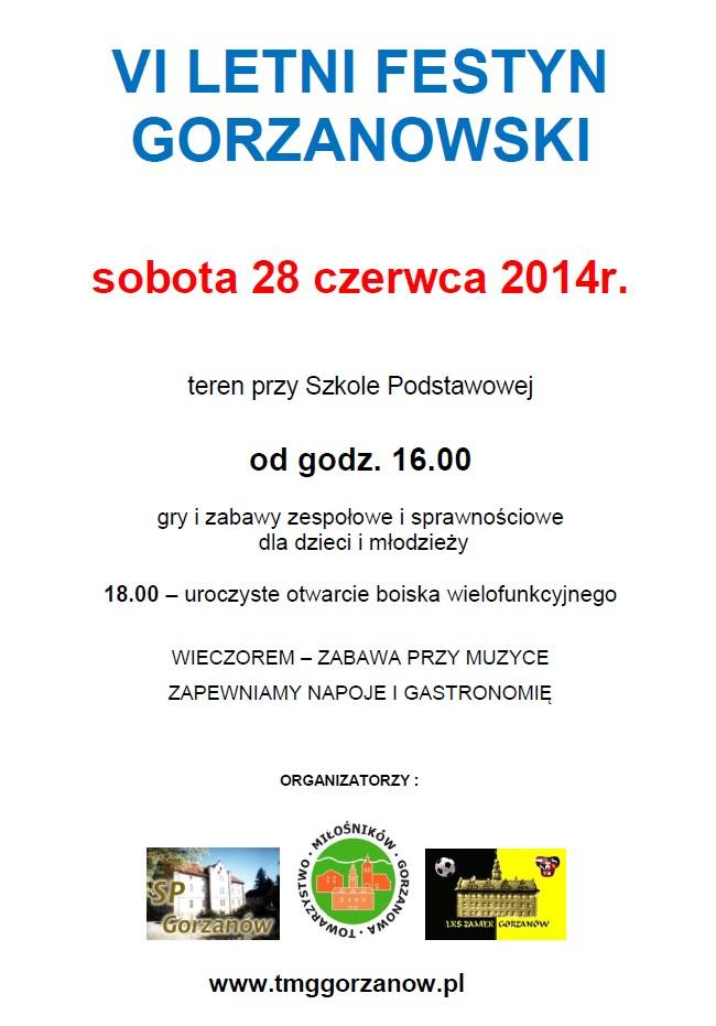 2014.06.28. Plakat_VI Letni Festyn Gorzanowski