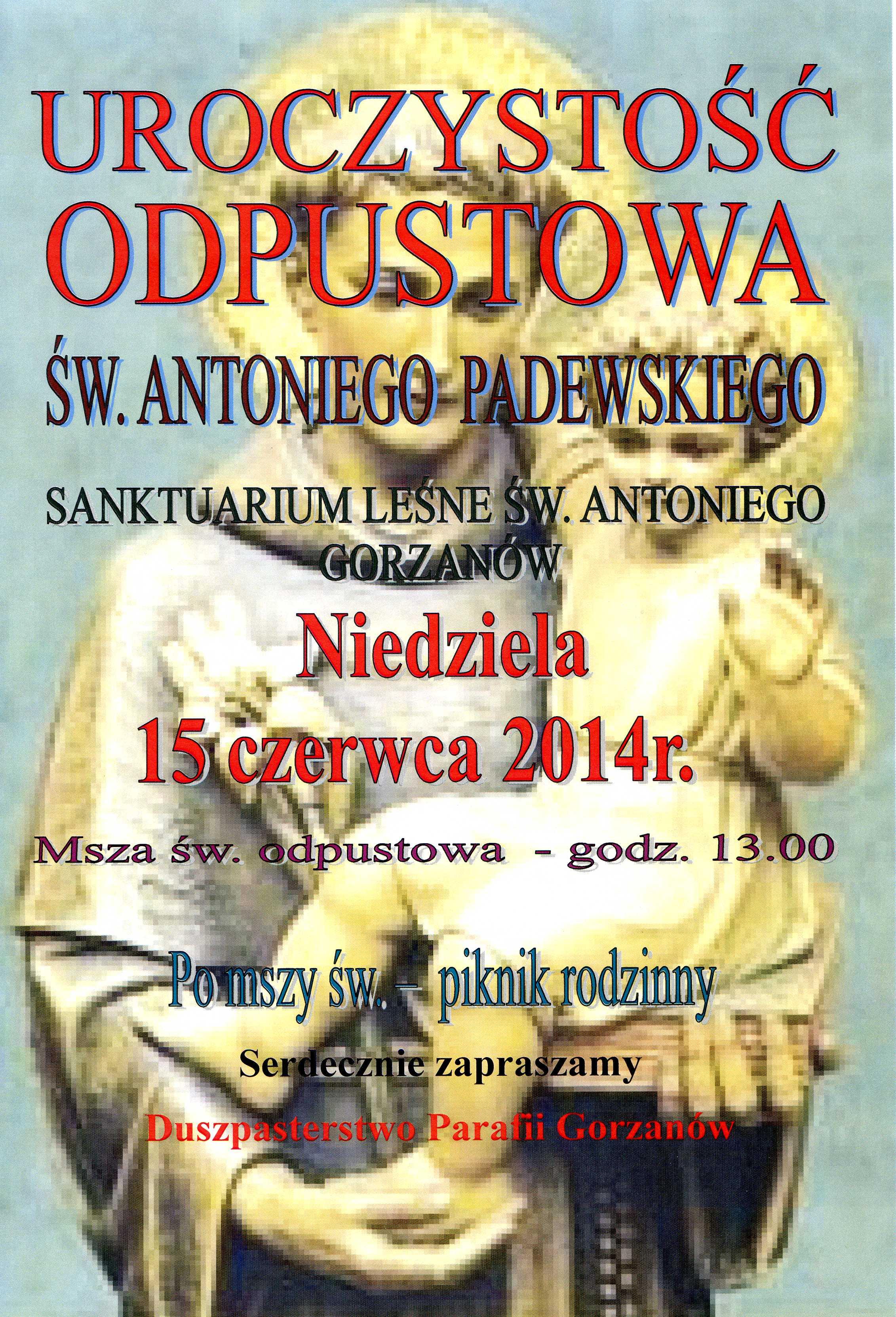 Plakat_Odpust_św.Antoniego 2014.06.15.