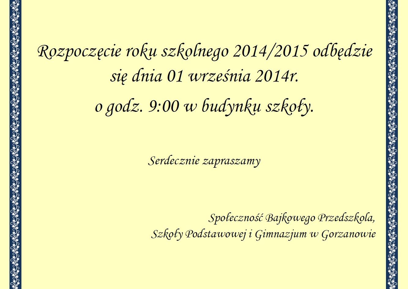 2014.08.28. Rozpoczęcie roku szkolnego 2014-2015